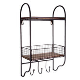 Metal Grid Wall Shelf with Hooks